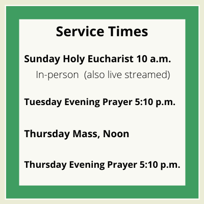 Times of Holy Eucharist 2021